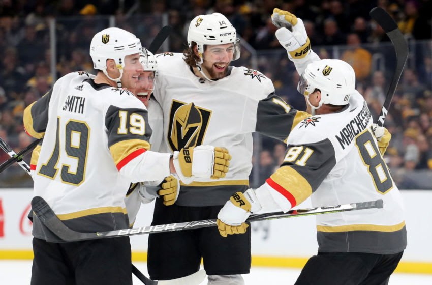 Nicolas Hague #14 of the Vegas Golden Knights celebrates with Nate Schmidt #88, Reilly Smith #19 and Jonathan Marchessault #81 after scoring a goal against the Boston Bruins. (Photo by Maddie Meyer/Getty Images)