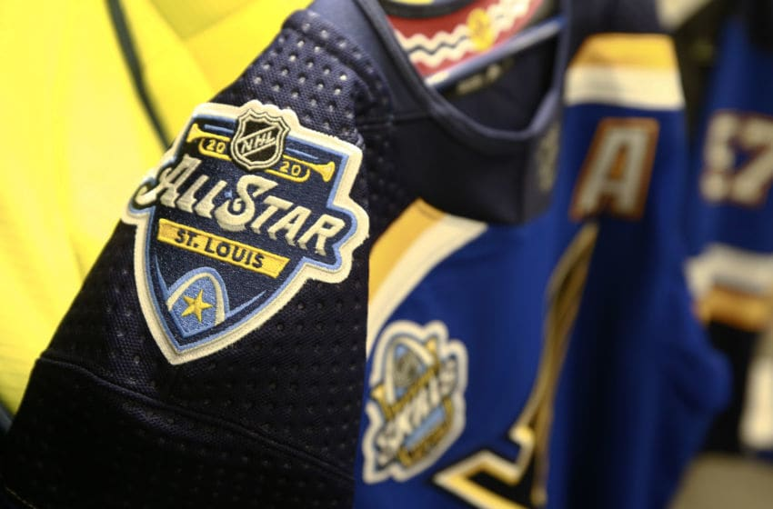 ST LOUIS, MISSOURI - JANUARY 24: A detailed view of the patches on a St. Louis Blues jersey is seen in the locker room prior to 2020 NHL All-Star Skills competition at Enterprise Center on January 24, 2020 in St Louis, Missouri. (Photo by Jeff Vinnick/NHLI via Getty Images)