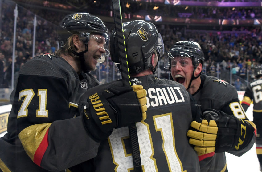 William Karlsson #71, Jonathan Marchessault #81 and Nate Schmidt #88 of the Vegas Golden Knights. (Photo by Ethan Miller/Getty Images)