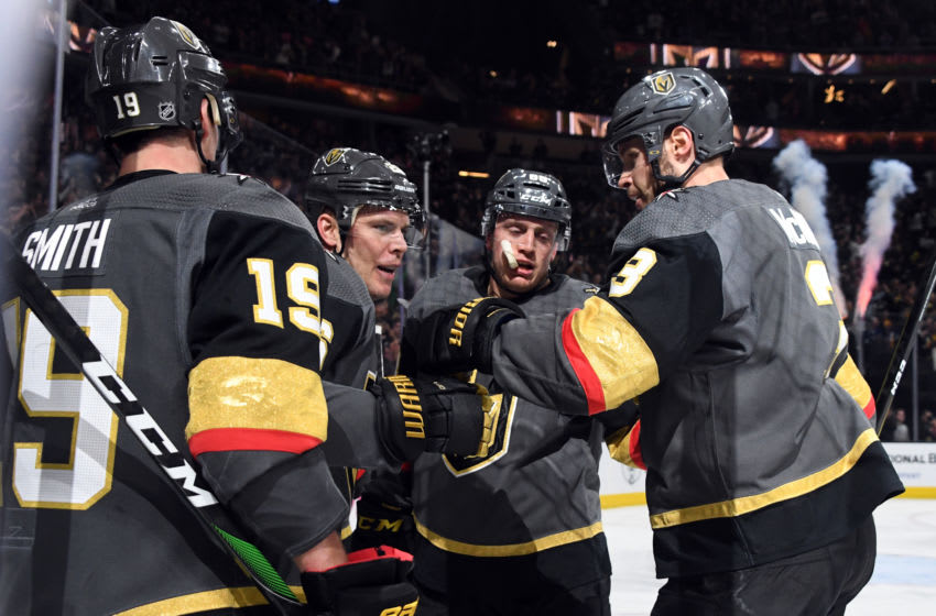 Reilly Smith #19, Paul Stastny #26, Nate Schmidt #88 and Brayden McNabb #3 of the Vegas Golden Knights celebrate. (Photo by Ethan Miller/Getty Images)