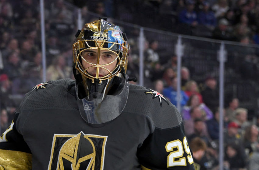 Marc-Andre Fleury #29 of the Vegas Golden Knights takes a break during a stop in play. (Photo by Ethan Miller/Getty Images)