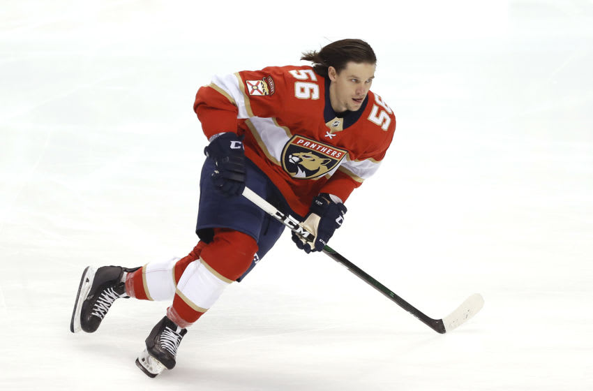Erik Haula #56 of the Florida Panthers warms up prior to the game against the Toronto Maple Leafs. (Photo by Michael Reaves/Getty Images)