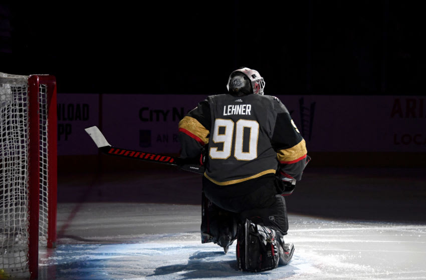 Robin Lehner #90 of the Vegas Golden Knights is introduced before playing his first game. (Photo by Ethan Miller/Getty Images)