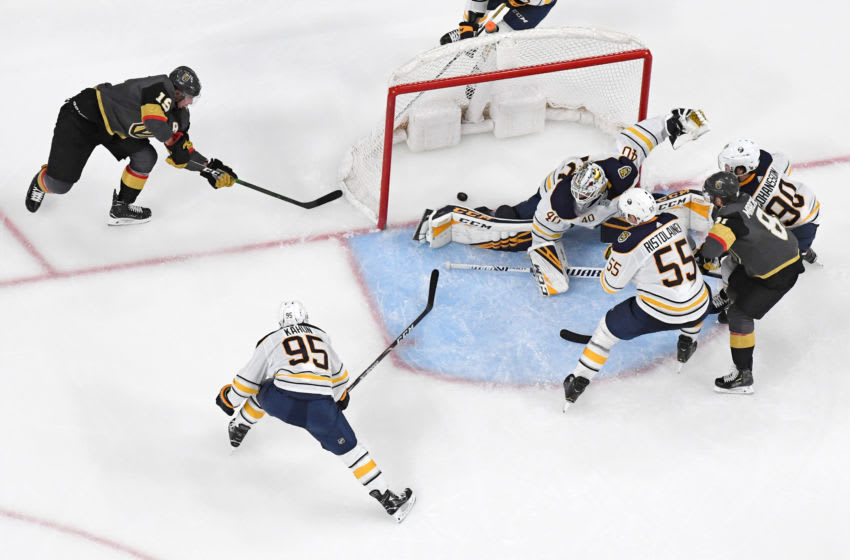 Reilly Smith #19 of the Vegas Golden Knights scores a wraparound goal, against Carter Hutton #40 of the Buffalo Sabres. (Photo by Ethan Miller/Getty Images)