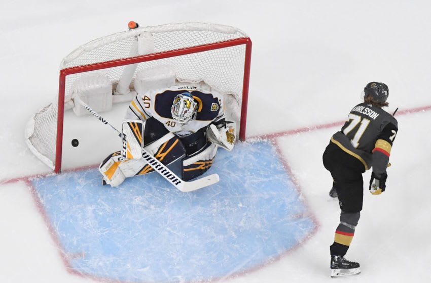 William Karlsson #71 of the Vegas Golden Knights scores a third-period goal against Carter Hutton #40 of the Buffalo Sabres.(Photo by Ethan Miller/Getty Images)
