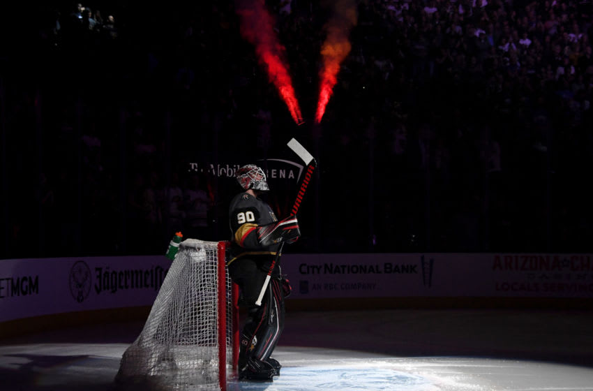 LAS VEGAS, NEVADA - FEBRUARY 28: Robin Lehner #90 of the Vegas Golden Knights is introduced before playing his first game for the Golden Knights against the Buffalo Sabres at T-Mobile Arena on February 28, 2020 in Las Vegas, Nevada. The Golden Knights defeated the Sabres 4-2. (Photo by Ethan Miller/Getty Images)