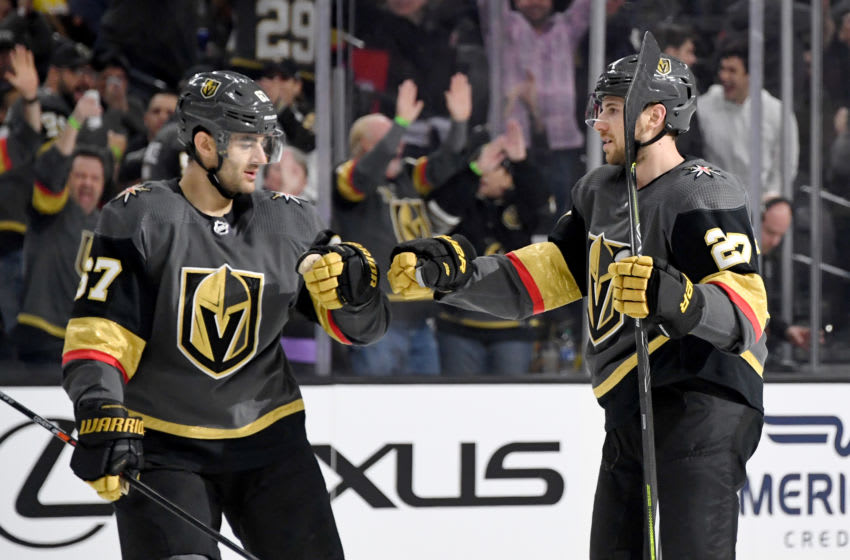 Max Pacioretty #67 and Shea Theodore #27 of the Vegas Golden Knights celebrate. (Photo by Ethan Miller/Getty Images)