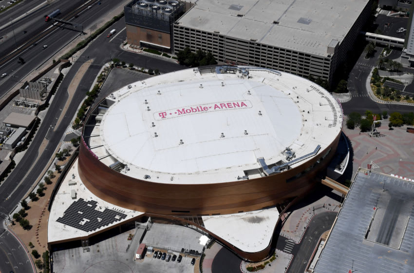An aerial view shows T-Mobile Arena, home of the NHL's Vegas Golden Knights. (Photo by Ethan Miller/Getty Images)