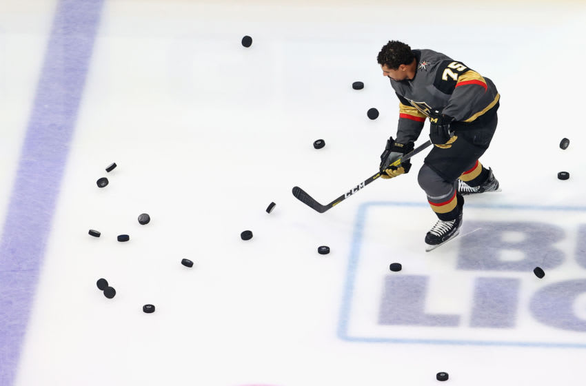 Ryan Reaves #75 of the Vegas Golden Knights skates in warm-ups prior to the game against the Vancouver Canucks in Game Two of the Western Conference Second Round. (Photo by Bruce Bennett/Getty Images)
