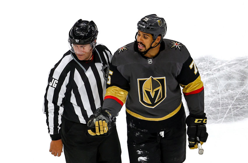 Ryan Reaves #75 of the Vegas Golden Knights argues after being called for a game misconduct penalty after hitting Tyler Motte (not pictured) of the Vancouver Canucks during the second period in Game Seven. (Photo by Bruce Bennett/Getty Images)