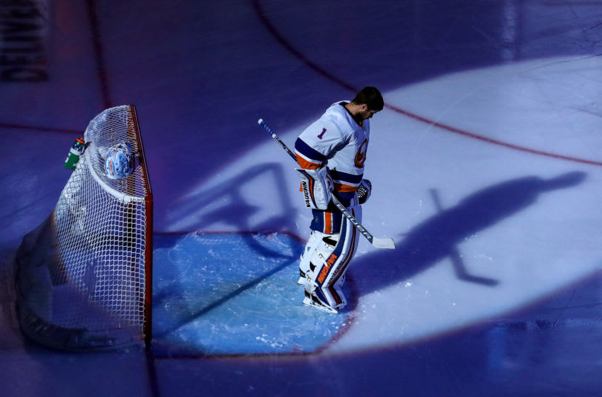 Thomas Greiss #1 of the New York Islanders takes the ice prior to Game Seven of the Eastern Conference Second Round. (Photo by Elsa/Getty Images)