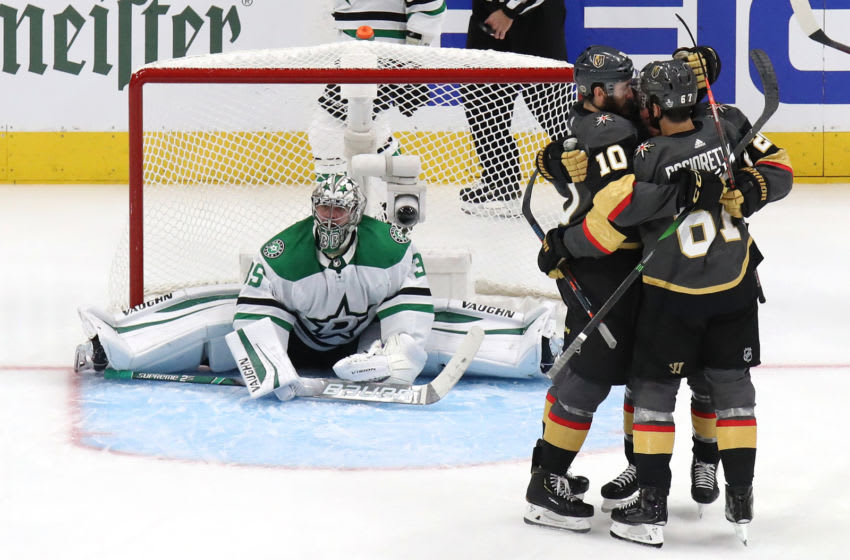 Paul Stastny #26 of the Vegas Golden Knights celebrates with Nicolas Roy #10 and Max Pacioretty #67 after scoring a goal on Anton Khudobin #35 of the Dallas Stars during the second period in Game Two of the Western Conference Final. (Photo by Bruce Bennett/Getty Images)