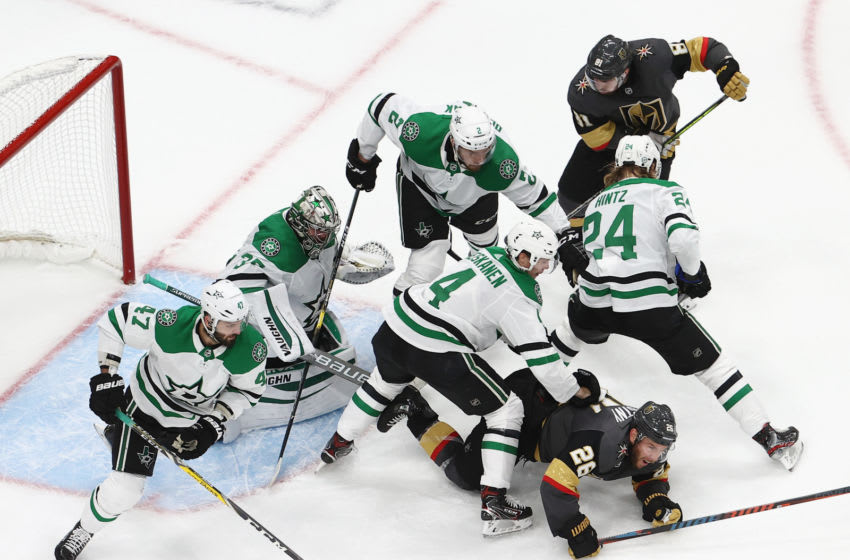 The Dallas Stars defend the net against the Vegas Golden Knights in Game Two of the Western Conference Final. (Photo by Bruce Bennett/Getty Images)