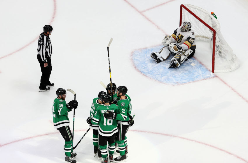 Jamie Oleksiak #2 of the Dallas Stars is congratulated by his teammates after scoring a goal past Robin Lehner of #90 the Vegas Golden Knights during the second period in Game Three of the Western Conference Final. (Photo by Bruce Bennett/Getty Images)