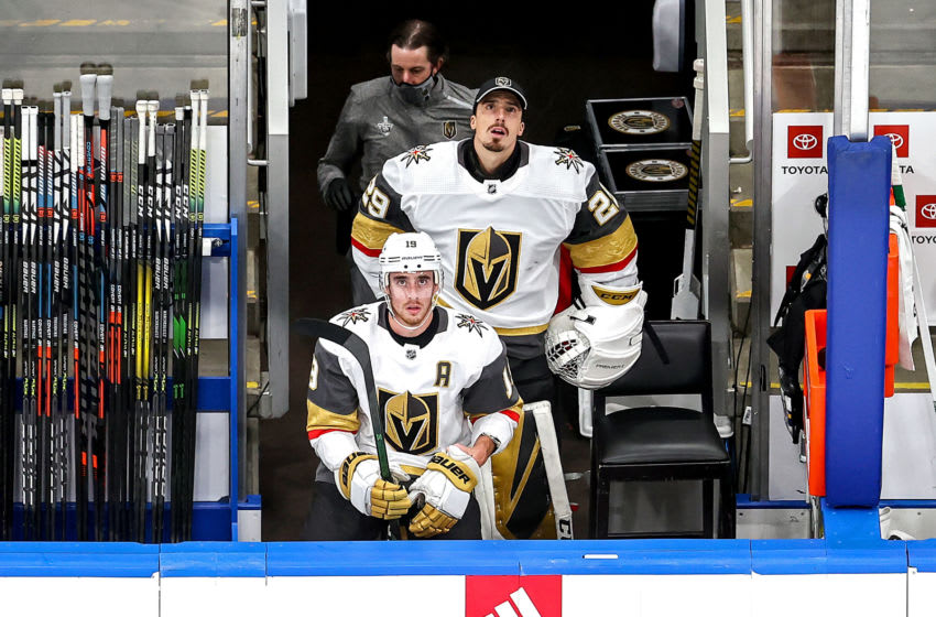 Marc-Andre Fleury #29 of the Vegas Golden Knights looks on from the bench against the Dallas Stars during the first period in Game Four of the Western Conference Final. (Photo by Bruce Bennett/Getty Images)