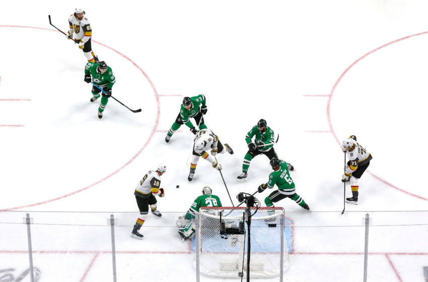 Alex Tuch #89 of the Vegas Golden Knights attempts a shot against Anton Khudobin #35 of the Dallas Stars during the first period in Game Four of the Western Conference Final. (Photo by Bruce Bennett/Getty Images)