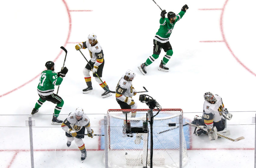 Robin Lehner #90 of the Vegas Golden Knights allows a goal on a shot by Joe Pavelski (not pictured) of the Dallas Stars during the second period in Game Four of the Western Conference Final. (Photo by Bruce Bennett/Getty Images)