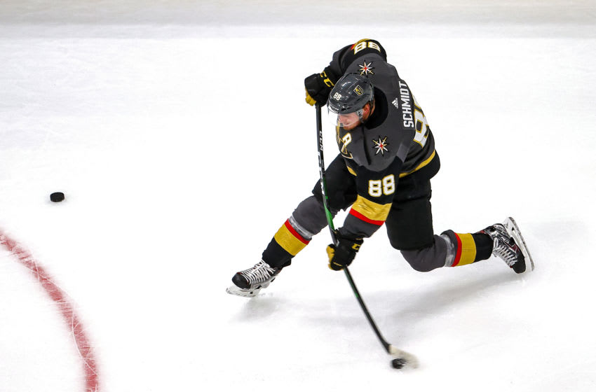 Nate Schmidt #88 of the Vegas Golden Knights takes a slapshot during warmups prior to Game Five of the Western Conference Final against the Dallas Stars. (Photo by Bruce Bennett/Getty Images)