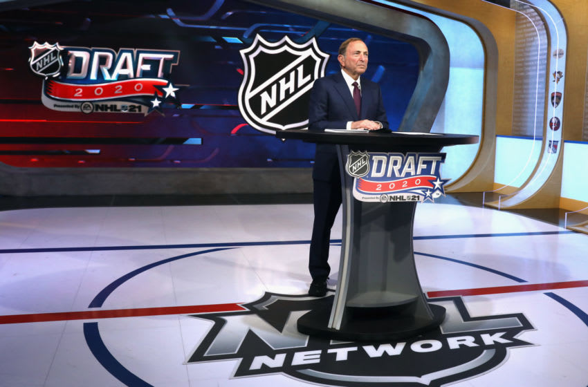 NHL commissioner Gary Bettman prepares for the first round of the 2020 National Hockey League Draft. (Photo by Mike Stobe/Getty Images)
