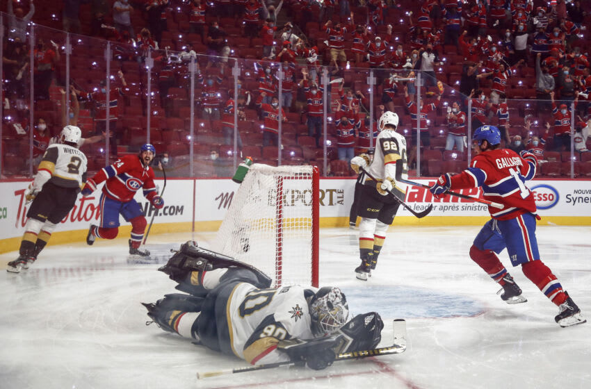 MONTREAL, QUEBEC - JUNE 24: Robin Lehner #90 of the Vegas Golden Knights reacts after allowing the game-winning goal to Artturi Lehkonen , of the Montreal Canadiens during the first overtime period in Game Six of the Stanley Cup Semifinals of the 2021 Stanley Cup Playoffs at Bell Centre on June 24, 2021 in Montreal, Quebec. (Photo by Vaughn Ridley/Getty Images)