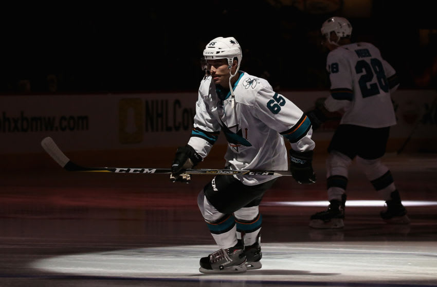 Danny O'Regan #65 of the San Jose Sharks skates on the ice. (Photo by Christian Petersen/Getty Images)