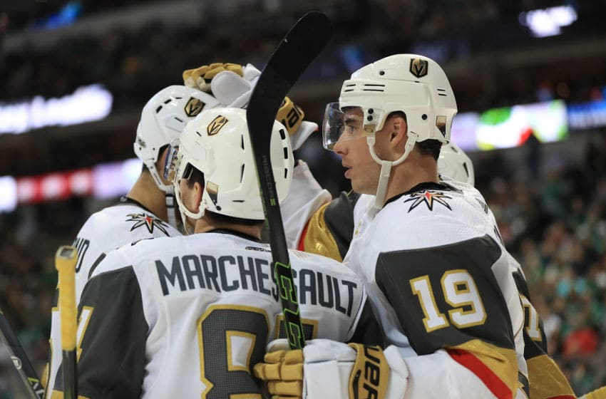 Reilly Smith #19 of the Vegas Golden Knights celebrates a goal against the Dallas Stars. (Photo by Ronald Martinez/Getty Images)