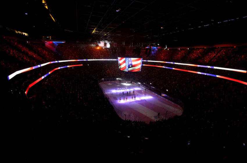 A general view of the arena during the National Anthem prior to Game Two of the 2018 NHL Stanley Cup Final. (Photo by Isaac Brekken/Getty Images)