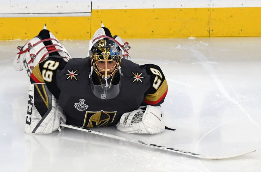 Marc-Andre Fleury #29 of the Vegas Golden Knights stretches during warmups before Game Five of the 2018 NHL Stanley Cup Final. (Photo by Ethan Miller/Getty Images)
