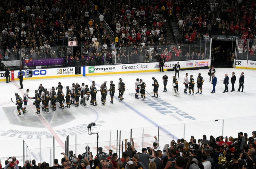 The Washington Capitals and the Vegas Golden Knights shake hands on the ice after Game Five of the 2018 NHL Stanley Cup Final. (Photo by Ethan Miller/Getty Images)