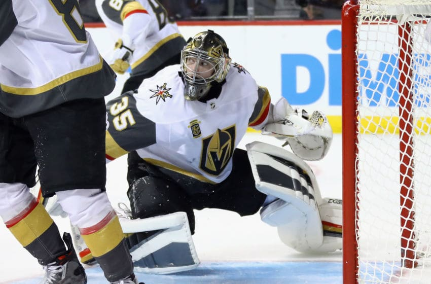 NEW YORK, NY - OCTOBER 30: Oscar Dansk #35 of the Vegas Golden Knights tends net against the New York Islanders during the second period at the Barclays Center on October 30, 2017 in the Brooklyn borough of New York City. (Photo by Bruce Bennett/Getty Images)