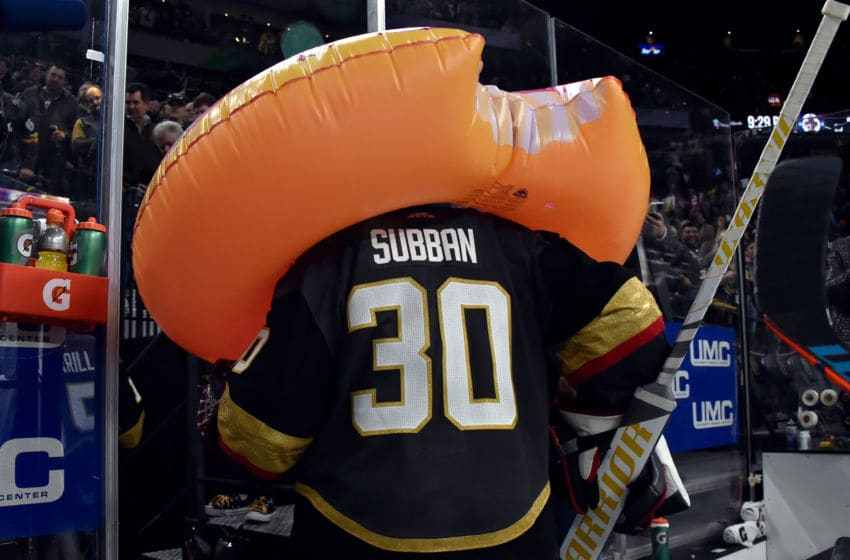 LAS VEGAS, NV - MARCH 21: Malcolm Subban #30 of the Vegas Golden Knights leaves the ice wearing an inflatable donut after his shutout victory over the Winnipeg Jets at T-Mobile Arena on March 21, 2019 in Las Vegas, Nevada. (Photo by David Becker/NHLI via Getty Images)
