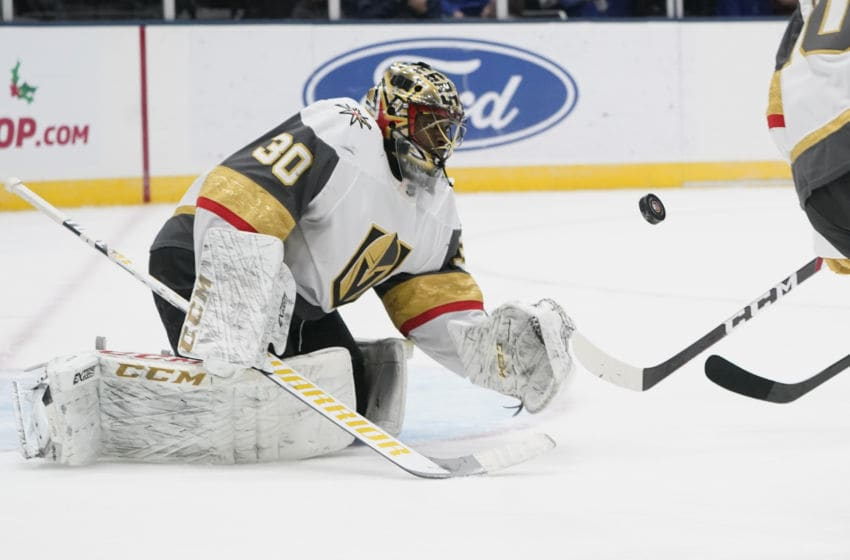 UNIONDALE, NY - DECEMBER 05: Vegas Golden Knights Goalie Malcolm Subban (30) makes a glove save during the second period of the National Hockey League game between the Las Vegas Golden Knights and the New York Islanders on December 5, 2019, at the Nassau Veterans Memorial Coliseum in Uniondale, NY. (Photo by Gregory Fisher/Icon Sportswire via Getty Images)