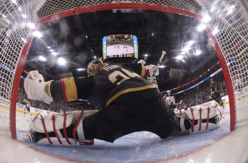 LAS VEGAS, NEVADA - NOVEMBER 23: Marc-Andre Fleury #29 of the Vegas Golden Knights saves a shot during the third period against the Edmonton Oilers at T-Mobile Arena on November 23, 2019 in Las Vegas, Nevada. (Photo by Jeff Bottari/NHLI via Getty Images)
