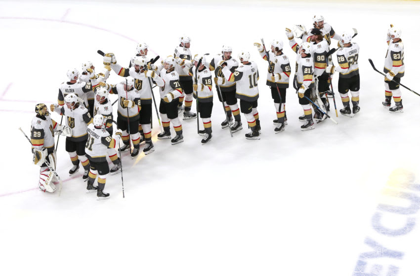 The Vegas Golden Knights celebrate their 4-1 win over the Arizona Coyotes in an exhibition game prior to the 2020 NHL Stanley Cup Playoffs. (Photo by Jeff Vinnick/Getty Images)
