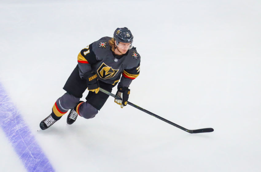 Vegas Golden Knights center William Karlsson (71) skates during the warmup period against the Chicago Blackhawks. Mandatory Credit: Sergei Belski-USA TODAY Sports