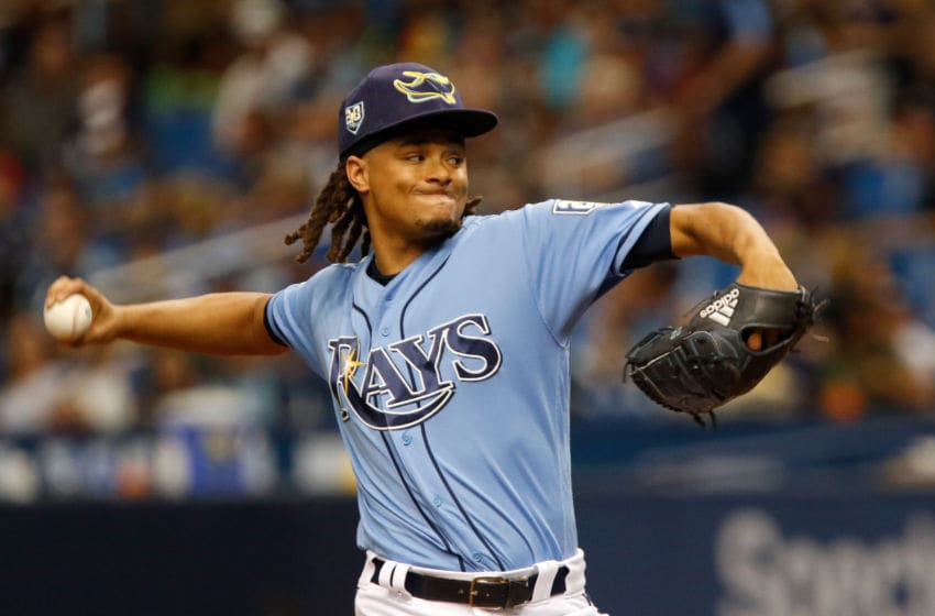ST. PETERSBURG, FL JULY 22: Chris Archer #22 of the Tampa Bay Rays delivers a pitch during the first inning against the Miami Marlins at Tropicana Field on July 22, 2017 in St. Petersburg, Florida. (Photo by Joseph Garnett Jr./Getty Images)