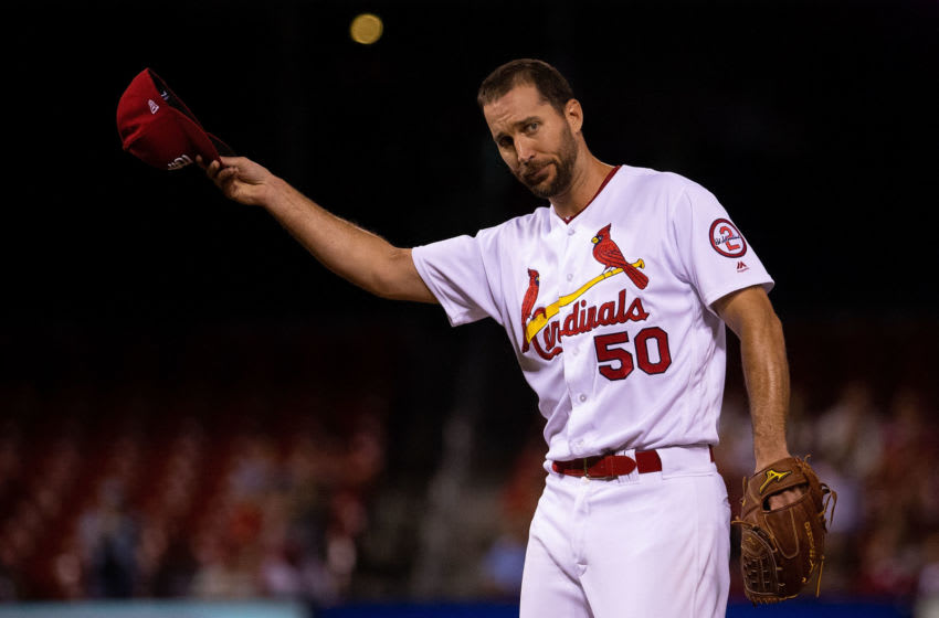 ST. LOUIS, MO - SEPTEMBER 10: Adam Wainwright #50 of the St. Louis Cardinals tips his cap after recording his 1,600th career strikeout while playing against the Pittsburgh Pirates in the second inning at Busch Stadium on September 10, 2018 in St. Louis, Missouri. (Photo by Dilip Vishwanat/Getty Images)