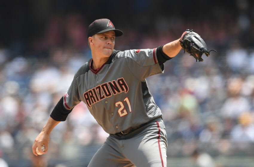 NEW YORK, NEW YORK - JULY 31: Zack Greinke #21 of the Arizona Diamondbacks pitches during the first inning of the game against the New York Yankees at Yankee Stadium on July 31, 2019 in the Bronx borough of New York City. (Photo by Sarah Stier/Getty Images)