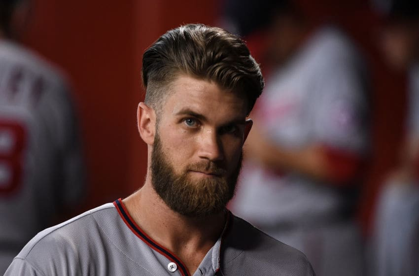 PHOENIX, AZ - AUGUST 01: Bryce Harper #34 of the Washington Nationals prepares for a game against the Arizona Diamondbacks at Chase Field on August 1, 2016 in Phoenix, Arizona. (Photo by Norm Hall/Getty Images)