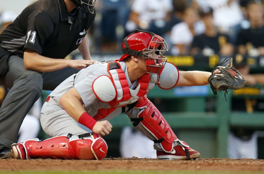 PITTSBURGH, PA - SEPTEMBER 05: Carson Kelly #71 of the St. Louis Cardinals catches in the eighth inning during the game against the Pittsburgh Pirates at PNC Park on September 5, 2016 in Pittsburgh, Pennsylvania. (Photo by Justin K. Aller/Getty Images)