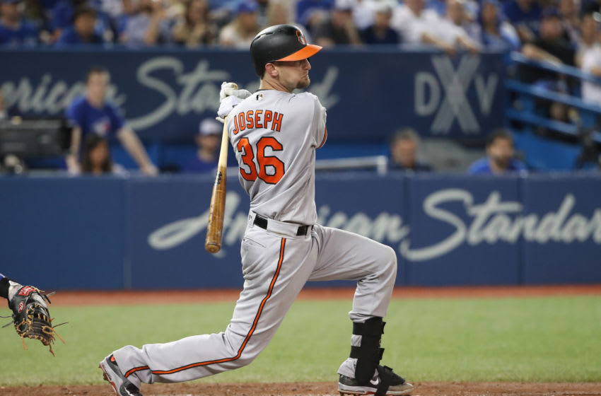TORONTO, ON - JUNE 29: Caleb Joseph #36 of the Baltimore Orioles hits an RBI single in the sixth inning during MLB game action against the Toronto Blue Jays at Rogers Centre on June 29, 2017 in Toronto, Canada. (Photo by Tom Szczerbowski/Getty Images)
