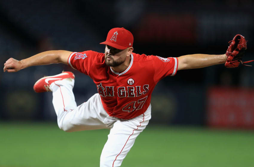 ANAHEIM, CA - SEPTEMBER 20: Ricky Nolasco #47 of the Los Angeles Angels of Anaheim pitches during the first inning of a game against the Cleveland Indians at Angel Stadium of Anaheim on September 20, 2017 in Anaheim, California. (Photo by Sean M. Haffey/Getty Images)