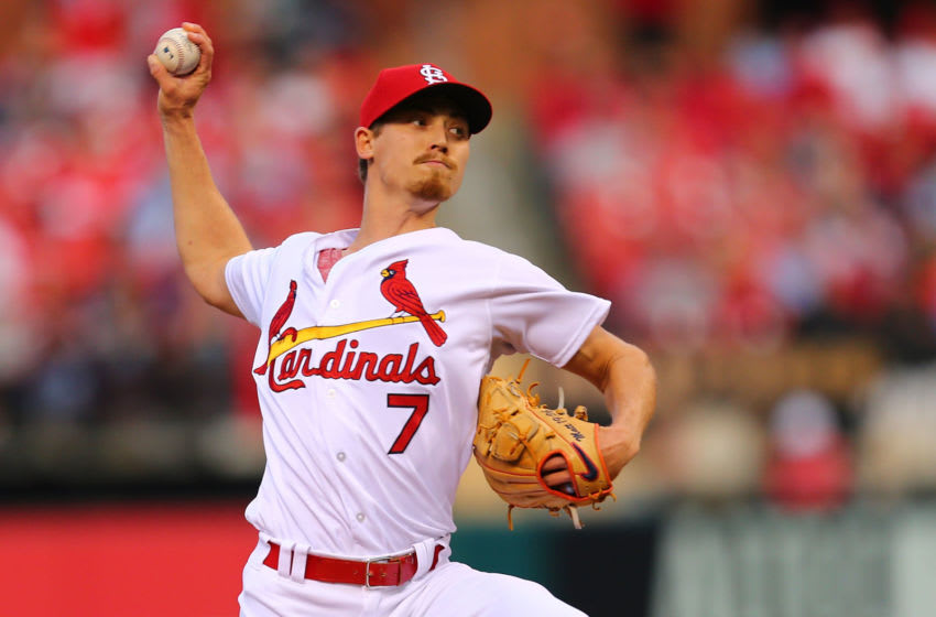 ST. LOUIS, MO - APRIL 24: Luke Weaver #7 of the St. Louis Cardinals delivers a pitch against the New York Mets in the first inning at Busch Stadium on April 24, 2018 in St. Louis, Missouri. (Photo by Dilip Vishwanat/Getty Images)