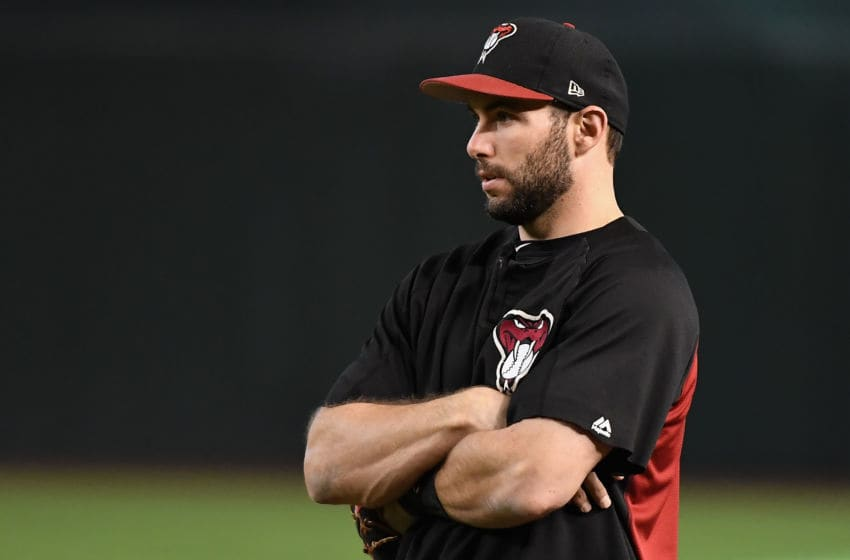 PHOENIX, AZ - OCTOBER 09: Paul Goldschmidt #44 of the Arizona Diamondbacks watches warm ups before the National League Divisional Series game three against the Los Angeles Dodgers at Chase Field on October 9, 2017 in Phoenix, Arizona. (Photo by Norm Hall/Getty Images)