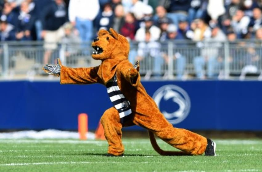 Oct 31, 2015; University Park, PA, USA; The Penn State Nittany Lion performs on the field prior to the game against the Illinois Fighting Illini at Beaver Stadium. Penn State won 39-0. Mandatory Credit: Rich Barnes-USA TODAY Sports