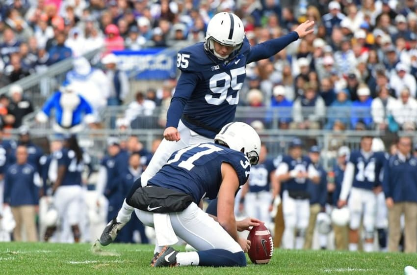 Oct 31, 2015; University Park, PA, USA; Penn State Nittany Lions place kicker Tyler Davis (95) kicks a field goal against the Illinois Fighting Illini during the second quarter at Beaver Stadium. Mandatory Credit: Rich Barnes-USA TODAY Sports