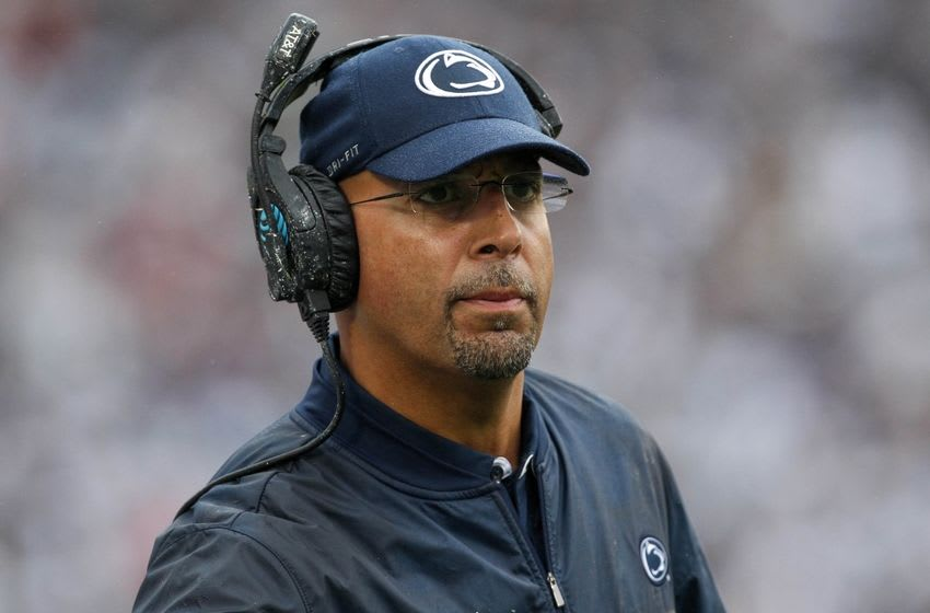 Oct 8, 2016; University Park, PA, USA; Penn State Nittany Lions head coach James Franklin looks on from the sideline during the fourth quarter against the Maryland Terrapins at Beaver Stadium. Penn State defeated Maryland 38-14. Mandatory Credit: Matthew O