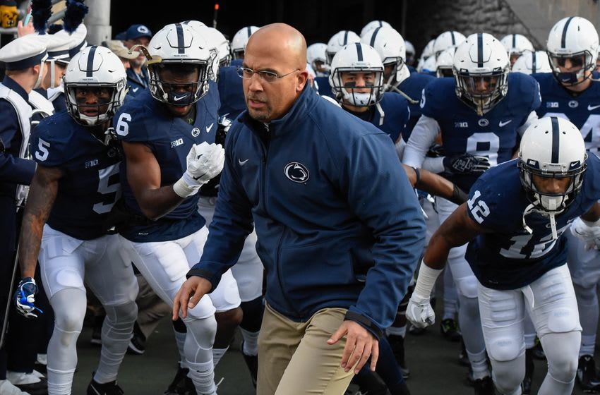Nov 26, 2016; University Park, PA, USA; Penn State Nittany Lions head coach James Franklin leads his team on the field prior to the game against the Michigan State Spartans at Beaver Stadium. The Nittany Lions won 45-12. Mandatory Credit: Rich Barnes-USA TODAY Sports