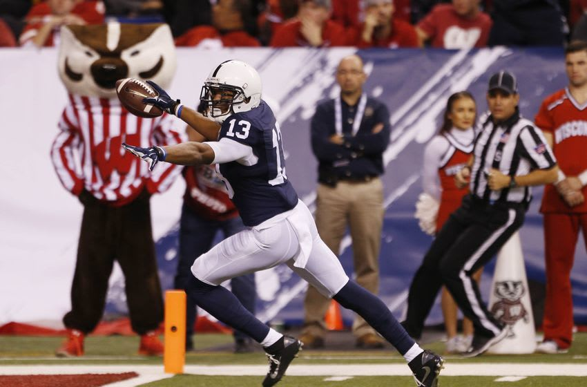 Dec 3, 2016; Indianapolis, IN, USA; Penn State Nittany Lions wide receiver Saeed Blacknall (13) scores a touchdown against the Wisconsin Badgers in the second half during the Big Ten Championship college football game at Lucas Oil Stadium. Mandatory Credit: Brian Spurlock-USA TODAY Sports