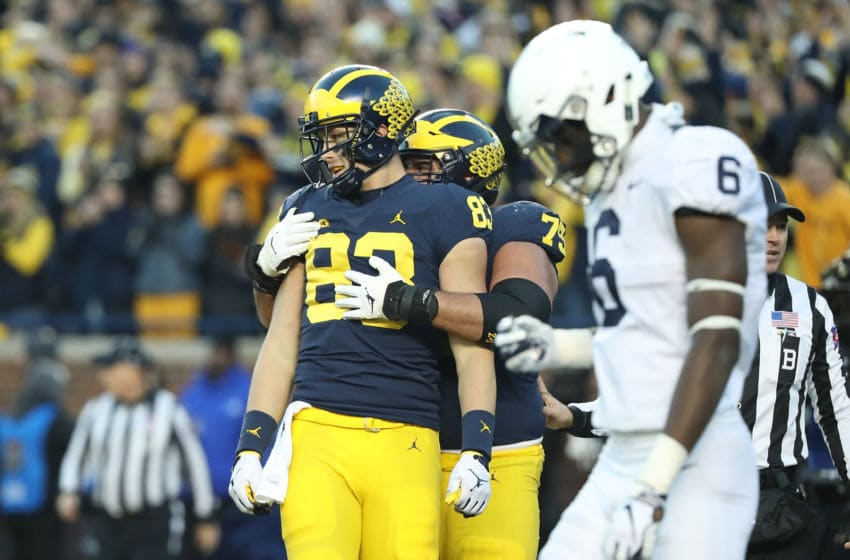 ANN ARBOR, MI - NOVEMBER 03: Zach Gentry #83 of the Michigan Wolverines celebrates a third quarter touchdown during the game against the Penn State Nittany Lions at Michigan Stadium on November 3, 2018 in Ann Arbor, Michigan. Michigan defeated Penn State 42-7. (Photo by Leon Halip/Getty Images)